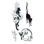 Set of 5 Waterproof Temporary Fake Tattoo Stickers Classic Black Sexy Cats Mouse Animals
