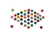 240+240 Crystal Bindis Colourful and White Crystal Bindi Round Dots