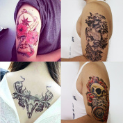 GIFT!Tastto 4 Sheets Temporary Tattoos of Skull, Bull with Gift