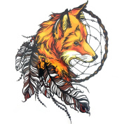Gracefulvara Dreamcatcher Fox Tattoo Stickers for Maverick Womens Teens Boys Girls Metallic Tattooing