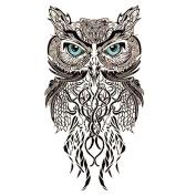 Yeeech Temporary Tattoos Sticker Animal Owl Design Blue Eyes