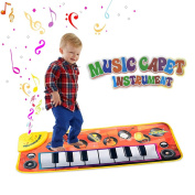 Amison Piano Mat for kids musical toys with 8 Music Instrument Pattern and Play Keyboard - Touch Play with Demo Mode and Music Mode - Great Baby Toy Gift