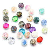 Soleebee Mixed Random 6pcs Rose Pattern + 6pcs Gravel Pattern Resin Snap Button Jewellery Charms 18mm