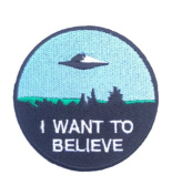 I Want To Believe Patch Embroidered Iron / Sew on Badge X-Files Movie Poster Costume Souvenir Applique