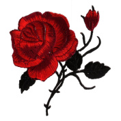 Mimgo Store Rose Flower Iron-On Embroidered Patch Applique Motif Garment Decoration Craft