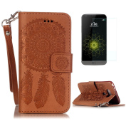 LG G5 Case [with Free Screen Protector],CaseHome Dreamcatcher Mandala Flower Embossed Design Book Style Folio Flip Magnetic Closure Built In Stand Full Body Protective PU Leather Case Cover Skin Shell for LG G5 with Card Holder Slot and Hand Wrist Stra ..