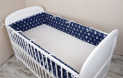 Cot bumper with Nest Head Guard Bumper 420x30 cm 360X30 CM 180x30 cm Cot Bumper Anchor Cot Bumper Bed Large Blue
