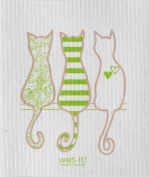 Swedish Treasures Wet-it! Cleaning Cloth, Cat Lover in Green, Super Absorbent, Reusable, Biodegradable, All-purpose