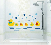 Honeysuck Removable Swimming Bathing Ducks Family Homes Wall Art Stickers for Bathroom
