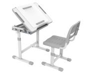ProHT Height Adjustable Children Desk & Chair Sets (05489A), Kids Interactive Work Station w/ Drawer Storage, Tilting Desktop & Paper Roll Holder, Ergonomic Design for Kids, Boys & Girls –Grey