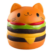WATINC Kawaii 1 pcs Jumbo Food Squishise Cat Hamburgers Cream Scented Slow Rising Squishies Charms, Kid Toy, Lovely Toy Stress Relief Toy, Decorations Toy Large