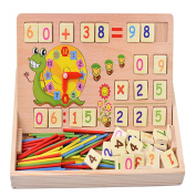 TOYMYTOY Wooden Block Toys of Arithmetic Number and Time with Counting Rods Box