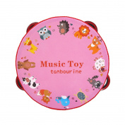 Angelara Creative Zoo Drum Linden Wood Tambourine Educational Musical Dancing Toy for Kids