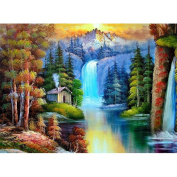 Fipart DIY diamond painting cross stitch craft kit. Wall stickers for living room decoration. Stream