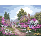 Collection D'Art Needlepoint Printed Tapestry Canvas 40X50cm-Flower Gate