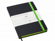 UberWorks PROTOTYPES Notebook Premium High-Strength Durable Black Hardcover With Unique Matching Kiwi Lime Green Elastic Closure & Paper Edge, Medium A5, Plain/Clear Paper, Bullet Journal, Sketchbook