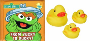 "Sesame Street Oscar ""From Yucky to Ducky!"" Bath Time Bubble Book with 3 Rubber Ducks"