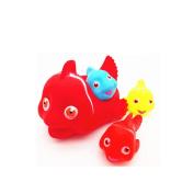 Zehui Baby Kids Cute Animal Mummy and 3 Babies Squeaky Floating Bathtub Play Toys Big fish