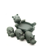 Zehui Baby Kids Cute Animal Mummy and 3 Babies Squeaky Floating Bathtub Play Toys Hippo
