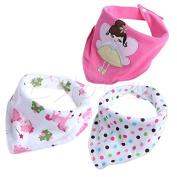 9# Butterfly Princess 3Pcs Baby Girls Boys Kids Triangle Head Scarf Bandana Bibs Saliva Towel Dribble