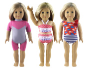 HongShun 3 Set Clothes Fashion Outfit for 46cm American Girl Doll Diving suit & swimming suit