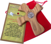 St. Michael with prayer engraved Hand Cross that will sit in your hand comfortably -