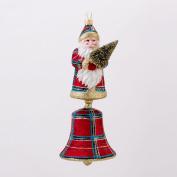 20cm David Strand Designs Glass Santa Bell Stewart Plaid Christmas Ornament