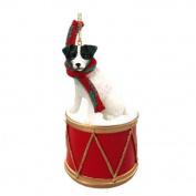 Jack Russell, Rough Coat Drum Christmas Ornament w. Gold String & Scarf