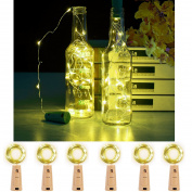 JIDI Set Of 6 PCS Fairy Bottle Cork Lights-2M/200cm Silver Wire 20LEDS Fairy String Lights Warm White Battery Powered Bottle Lights With Screwdriver