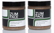 Zum Rosemary-Mint and Walnut Sugar Facial Scrub (Pack of 2) with Cane Sugar, Jojoba Oil, Coconut Oil, Olive Oil, Caster Oil, Rosemary, Peppermint and Essential Oils 120ml