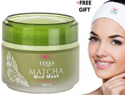 Matcha Green Tea Facial Mud Mask with Headband by Terka Care | Natural Face Lightening, Anti-Ageing & Firming Beauty Moisturiser for All Skin Types | Powerful Anti-Wrinkle, Hydrating and Healing Clay