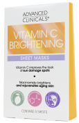 Advanced Clinicals Vitamin C Brightening Sheet Mask for dark spots. Brightening Sheet Mask Made in Korea. 5 per box.