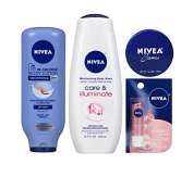 Nivea In-Shower Body Lotion, Body Wash, Creme & Lip Care Bundle