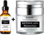 HARISU Cosmeceuticals's 2.5% Retinol Moisturiser & Serum Set - Anti Wrinkle Lotion For Your Face - With Vitamin C Hyaluronic Acid With 2.5% Active Retinol, Hyaluronic Acid, Vitamin E