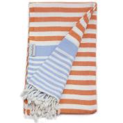 Amalfi Orange Blue Turkish Towel for Bath & Beach Swimming Pool - Yoga - Pilates - Peshtemal Hammam Fouta - Picnic Blanket - Scarf - Wrap by The Riviera Towel Company