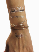 Yoga-Inspired Metallic Tattoos by TribeTats (Armbands + Bracelets Set) | Henna Inspired Temporary Tattoos | Mandalas, Elephants, Om Symbols, Chakras, Moon Phases | Applies In A Flash With Water