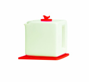Make My Day Tea Cube Ceramic Teapot with Infuser, White with Red Accent