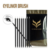 100 PCS Disposable Eyeliner Brush Applicator - Black Cosmetic Eye Liner Wands, Lipliner Makeup Tool