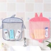 2PCs Bath Mesh Net Storage Bag Organiser Holder for Toy Skin Care Products Bath Ball Shampoo ,2 Suction Cup Cartoon Animal Mesh Basket for Bathroom Kitchen - Hanging Mesh Hammock