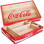 (Set) Coca-Cola Logo Wood Desktop Tray And Coke Partitioned Organiser Tray