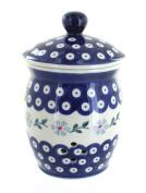 Polish Pottery Blue Violet Garlic Keeper
