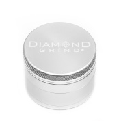 "Diamond Grind 4 Piece Aluminium Herb Grinder with screen 63mm (2.50"") SILVER"