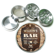 """Vintage Bar Signs Cocktails S6 Chrome Silver 2.5"""" Aluminium Magnetic Metal Herb Grinder 4 Piece Hand Muller Herb & Spice Heavy Duty 63mm"""