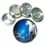 """Unicorns Magical Creature S5 Chrome Silver 2.5"""" Aluminium Magnetic Metal Herb Grinder 4 Piece Hand Muller Herb & Spice Heavy Duty 63mm"""