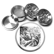 """Cute Sloth Animal S10 Chrome Silver 2.5"""" Aluminium Magnetic Metal Herb Grinder 4 Piece Hand Muller Herb & Spice Heavy Duty 63mm"""