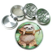 """Cute Sloth Animal S2 Chrome Silver 2.5"""" Aluminium Magnetic Metal Herb Grinder 4 Piece Hand Muller Herb & Spice Heavy Duty 63mm"""