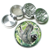 """Cute Sloth Animal S1 Chrome Silver 2.5"""" Aluminium Magnetic Metal Herb Grinder 4 Piece Hand Muller Herb & Spice Heavy Duty 63mm"""