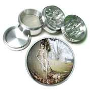 """Skeleton Death Skull S8 Chrome Silver 2.5"""" Aluminium Magnetic Metal Herb Grinder 4 Piece Hand Muller Herb & Spice Heavy Duty 63mm"""