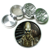 """Skeleton Death Skull S1 Chrome Silver 2.5"""" Aluminium Magnetic Metal Herb Grinder 4 Piece Hand Muller Herb & Spice Heavy Duty 63mm"""