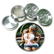 """Ohio Pin Up Girls Model S4 Chrome Silver 2.5"""" Aluminium Magnetic Metal Herb Grinder 4 Piece Hand Muller Herb & Spice Heavy Duty 63mm"""